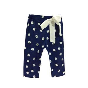 Pantalone morbido fiori e fiocco