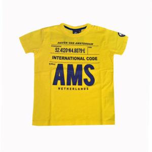 T-shirt gialla scritte blu