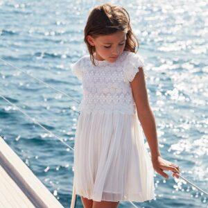 Vestito Mayoral guipure bianco